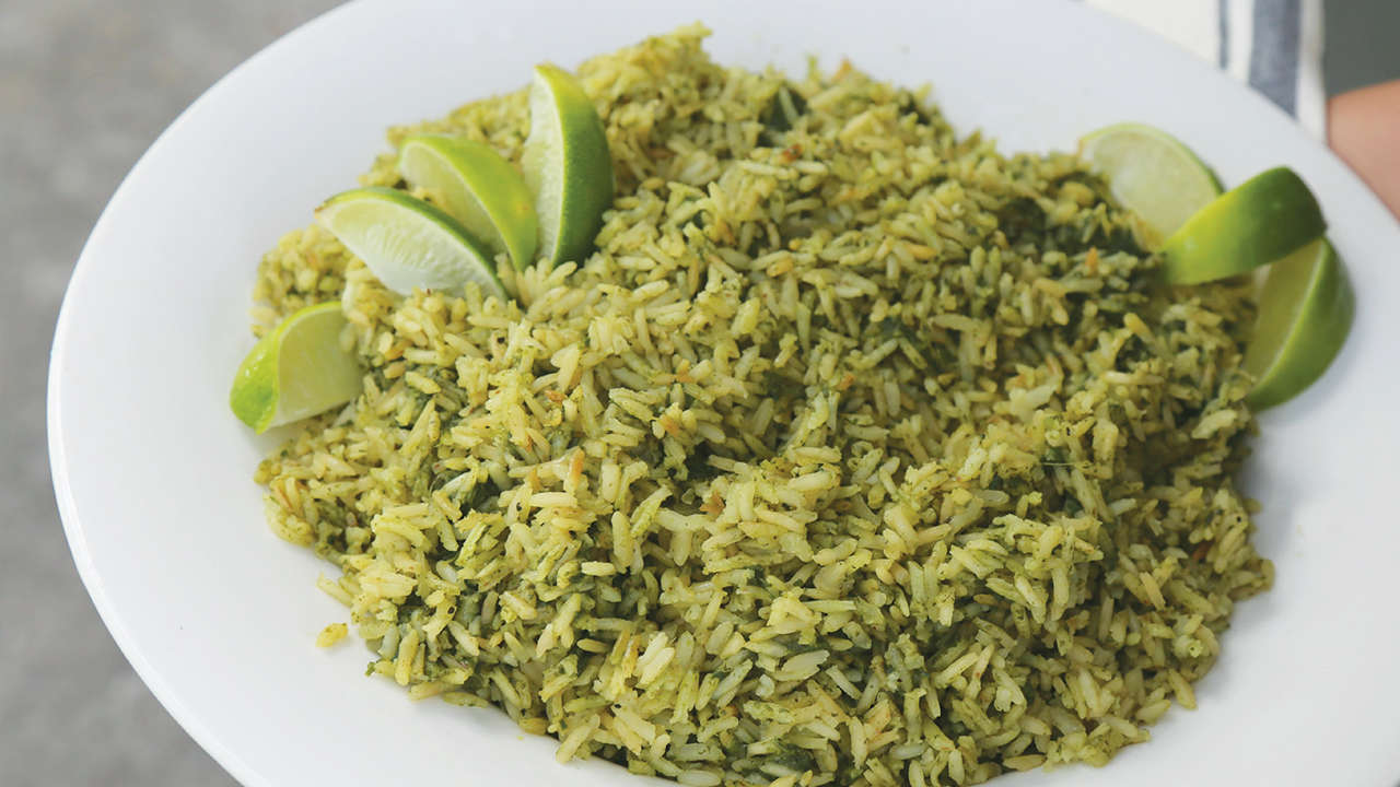 Green Rice with Shrimp and Asparagus