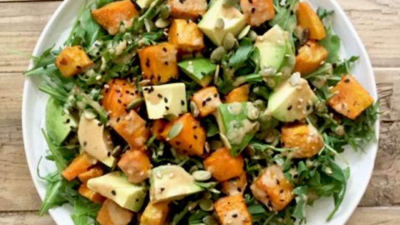 Carrot and Pumpkin Seeds Salad with Beans.