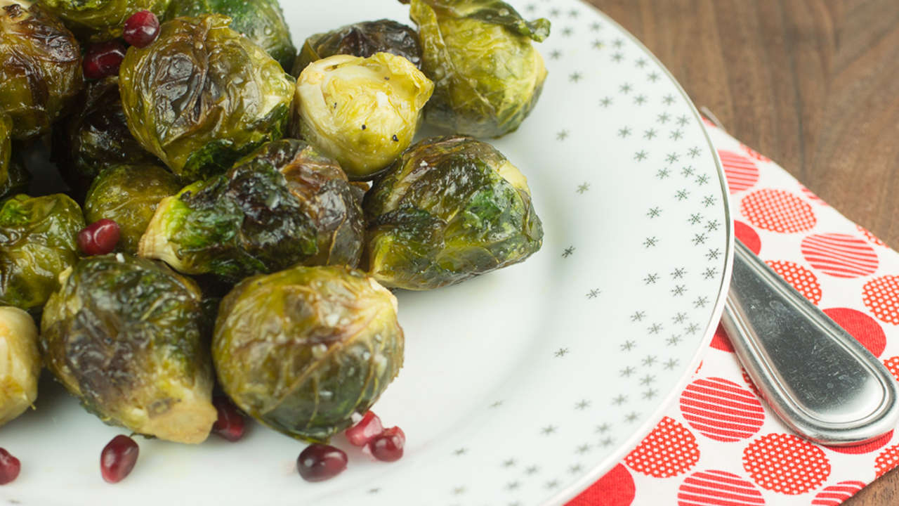 Apple Pomegranate Roasted Brussels Sprouts