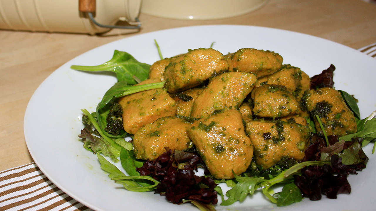 Sweet Potato Gnocchi with Pesto