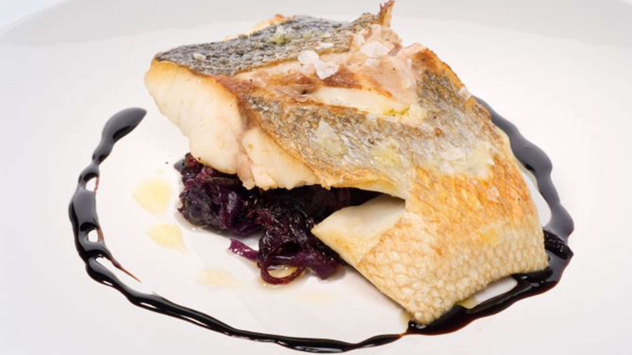Sea bass with cabbage