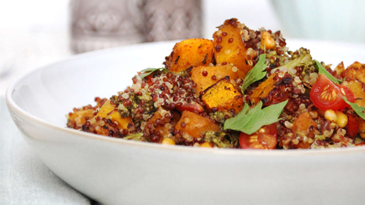 Roasted Butternut Squash and pine nut quinoa
