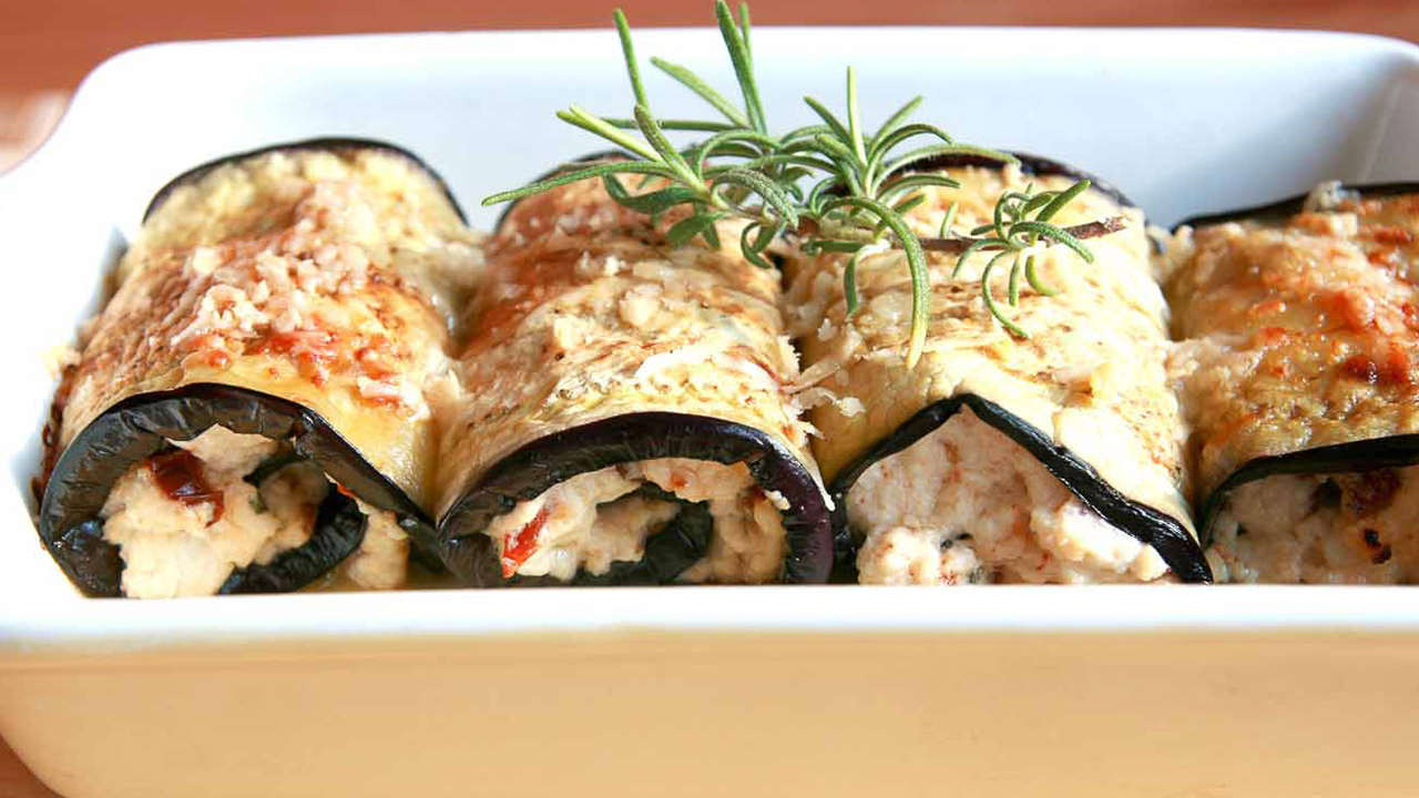 Eggplant Rolls with Red Pepper and Cheese