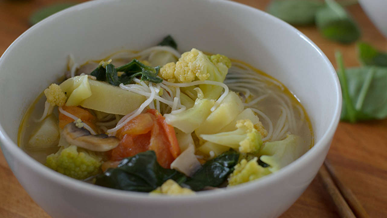 Vegetable Soup with Rice Noodles and Chickpeas
