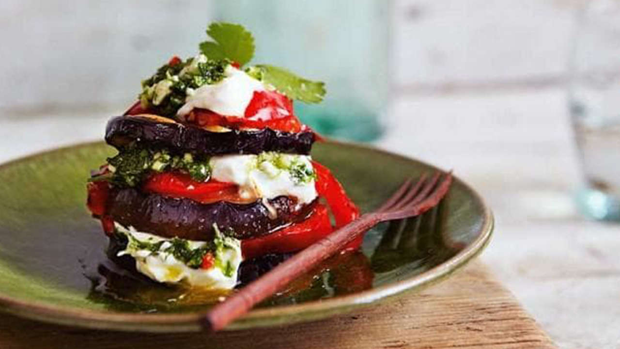 Aubergine,Pepper and Goat Cheese Tower