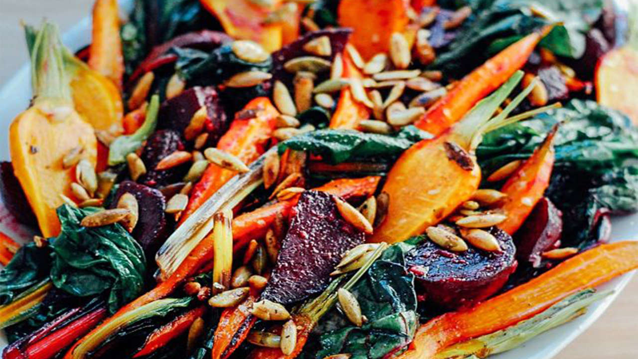 Roasted Vegetable with Garlic Dressing