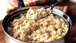 Rice with tuna, cheese, and nuts