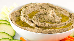 Baba ganoush with celery sticks