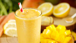 Banana, mango and coconut milk shake