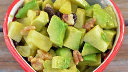 Avocado, apple and walnuts bowl