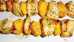 Chicken and peach brochette