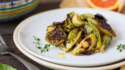 Roasted brussels sprouts with orange butter sauce