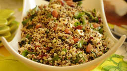 Quinoa, tomato, and red onion salad