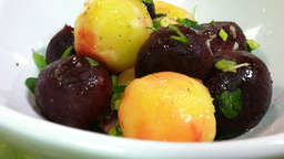 Steamed potato beets and onions