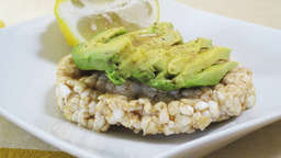 Saracen wheat cakes with avocado and sesame