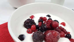 Coconut milk yogurt with red fruits